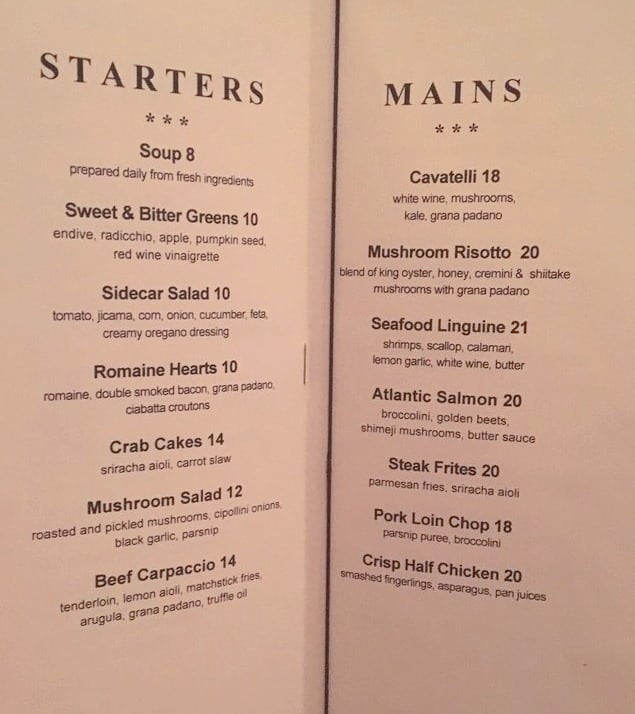 Sidecar Menu and price